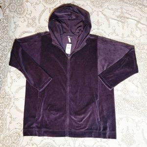 J. Jill Plum Velour Hoodie Jacket Size XL